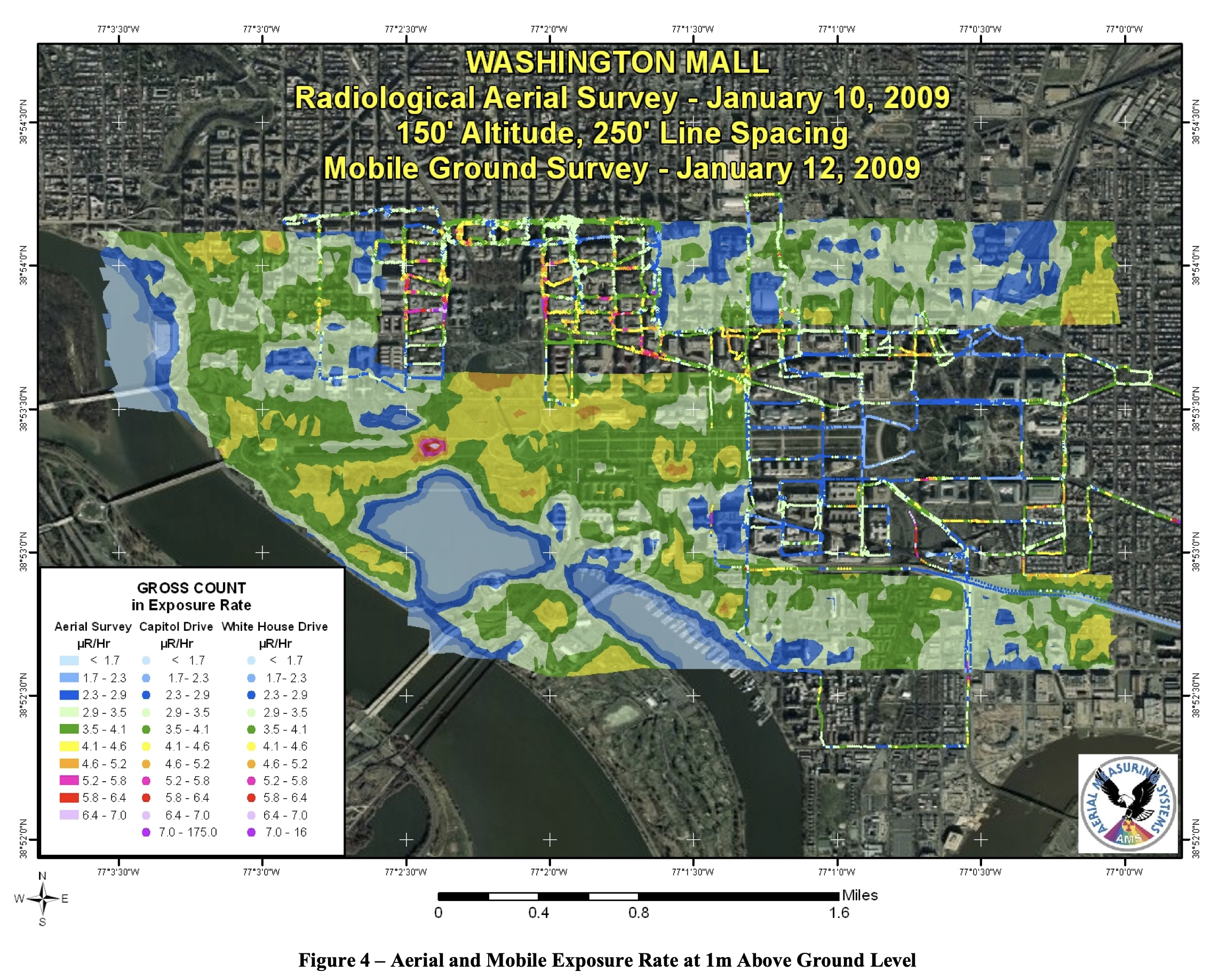 """The map produced by NNSA for the 2009 presidential inauguration. Note the """"bullseye"""" pattern where the National World War II Memorial stands."""