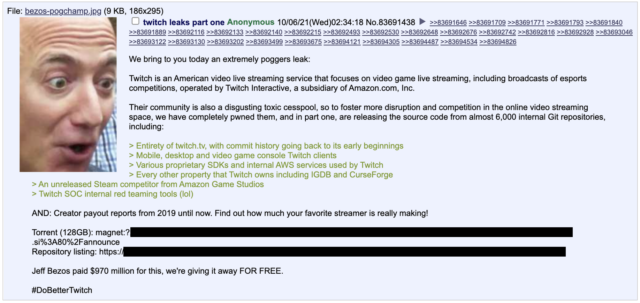 A 4chan user posted a torrent of a 125GB data dump.