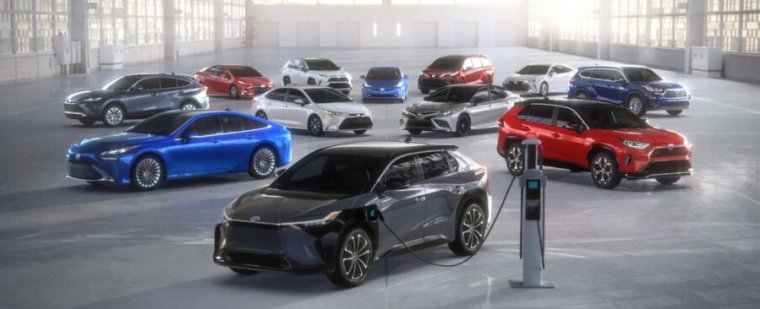 An array of Toyota's electrified model year 2021 vehicles