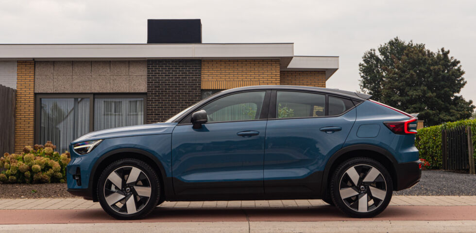 Volvo says the C40 Recharge has different sheet metal from the XC40 Recharge from the A pillars back. It's hard to miss the change at the rear.