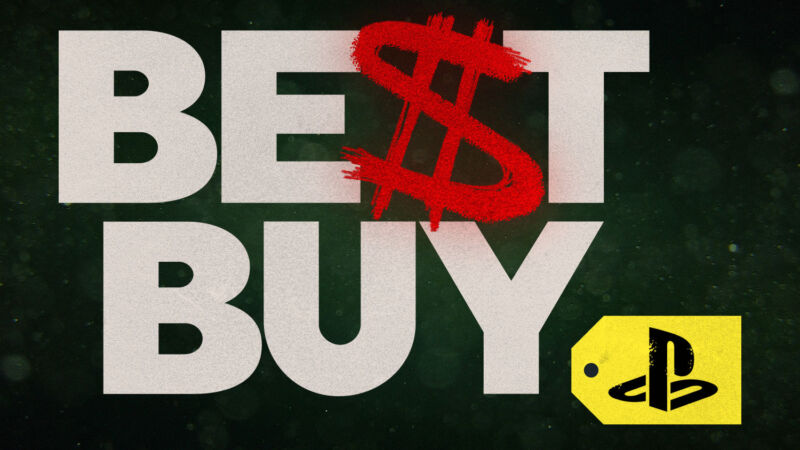 Best Buy and PlayStation logos combined with a fiery dollar sign.
