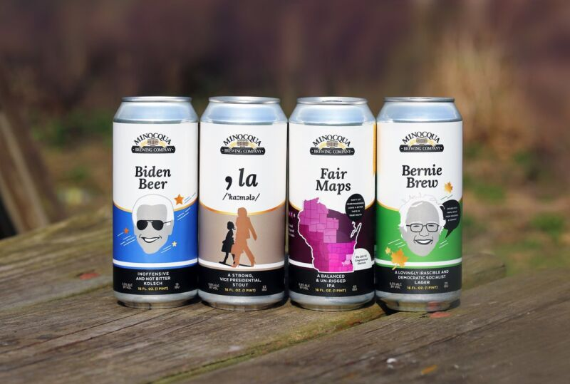 Four cans of beer with names such as