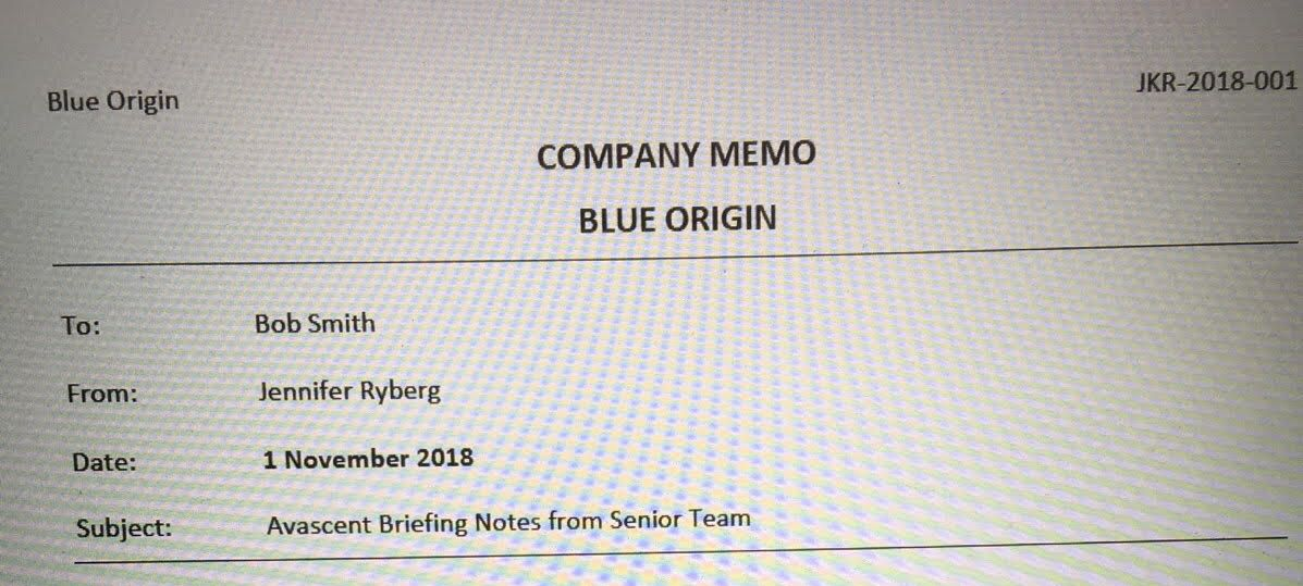 First page of memo to Bob Smith in November, 2018.