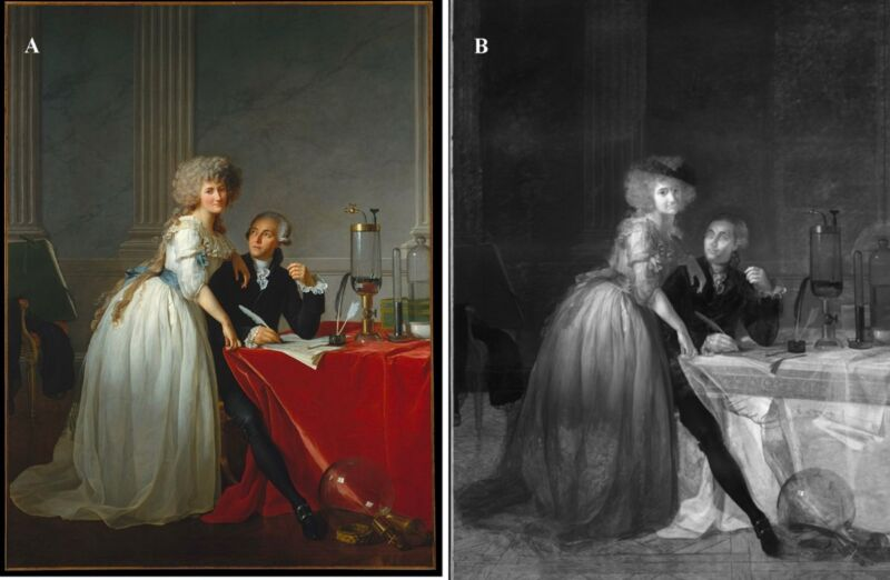 X-ray analysis reveals hidden composition under iconic portrait of the Lavoisiers