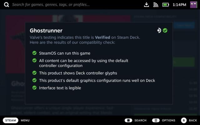 Un exemple de jeu qui répond à tous les critères Deck Verified.