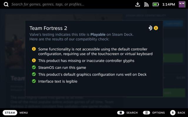 Les jeux plus anciens peuvent nécessiter des mises à jour pour atteindre pleinement le statut Deck Verified.