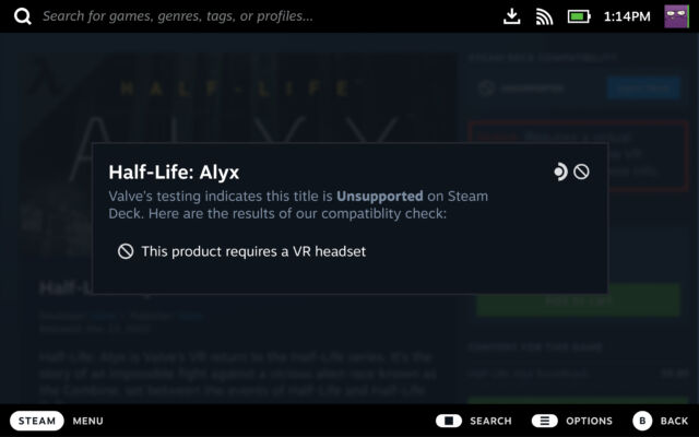 """//arstechnica.com/gaming/2020/03/half-life-alyx-review-the-greatest-vr-adventure-game-yet-and-then-some/""""><em>Half-Life: Alyx</em></a> will officially show up as """"Unsupported"""" on the Steam Deck."""