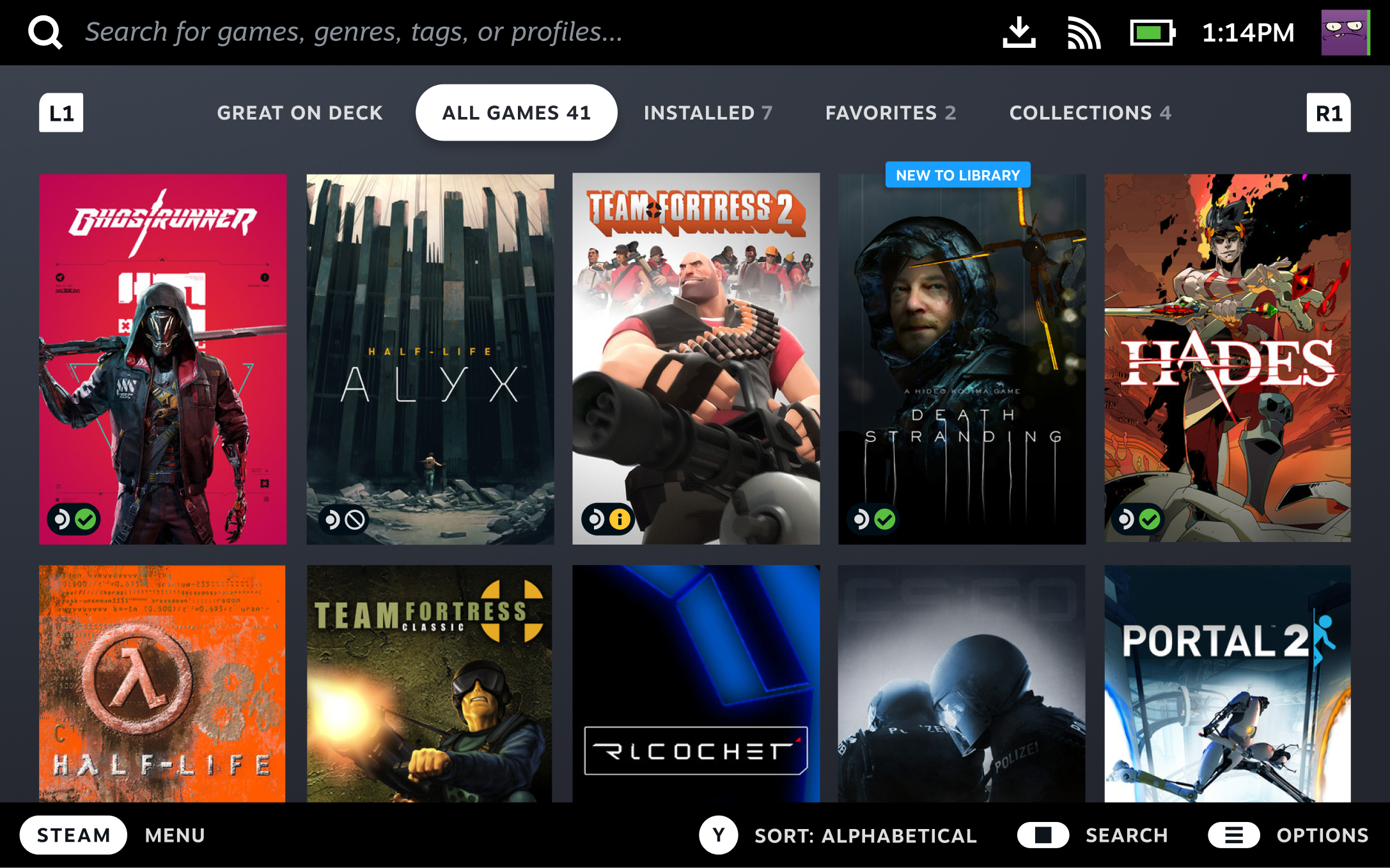 Browsing your Steam Library will make it clear at a glance which of your games are fully compatible with the Steam Deck.