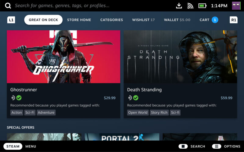 """Games that earn the """"Deck Verified"""" checkmark will appear in the """"Great on Deck"""" tab of the Steam Store."""