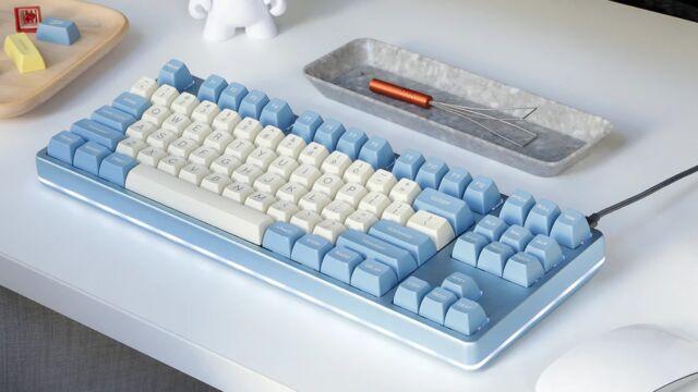 Drop's Moon Shot keyboard uses tall, SA profile keycaps.