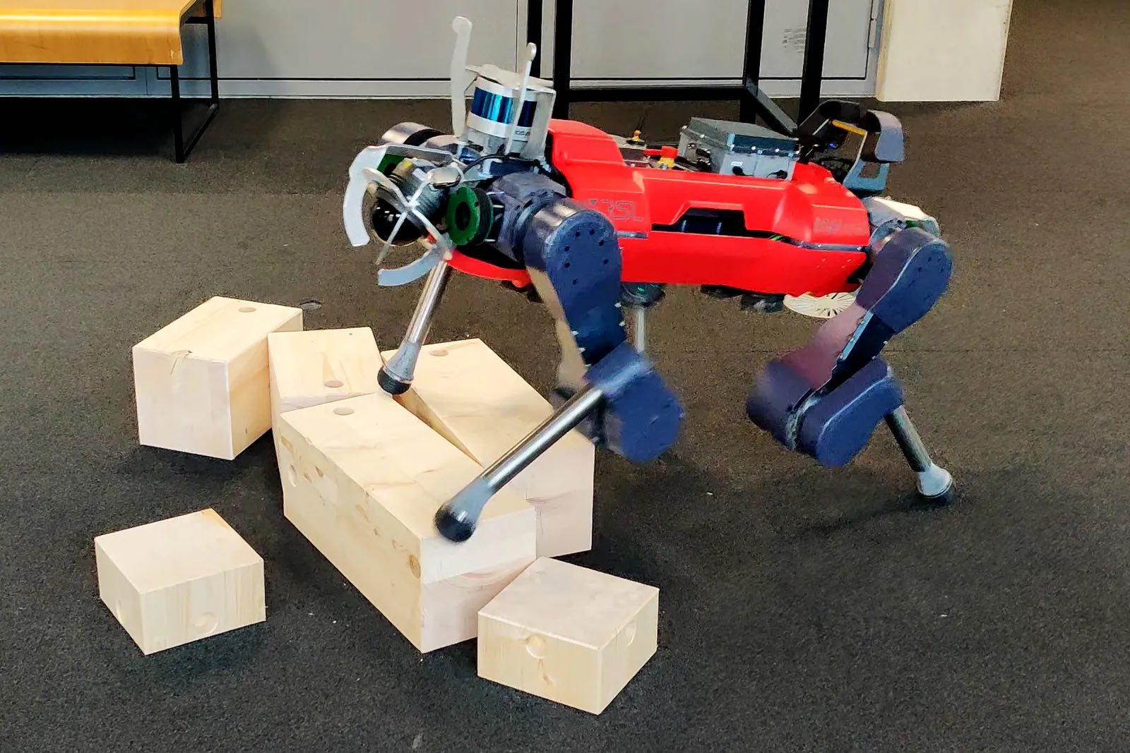 The real ANYmal, a four-legged robot from the Swiss company ANYbotics.