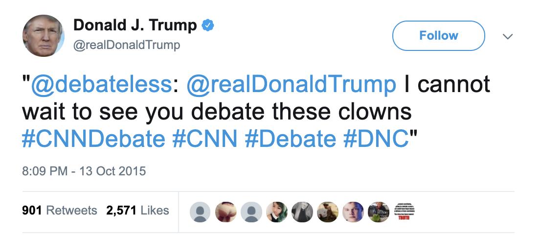 "Trump retweeting ""debateless"" account managed by Willis."
