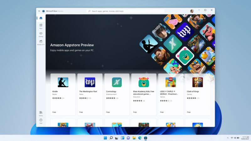 Android apps listed in the Microsoft Store.