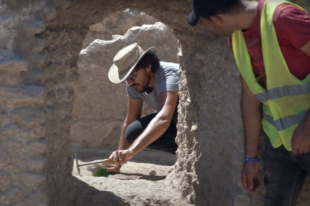 An archaeologist at work in Yavne on the latest dig, which revealed a large wine factory.