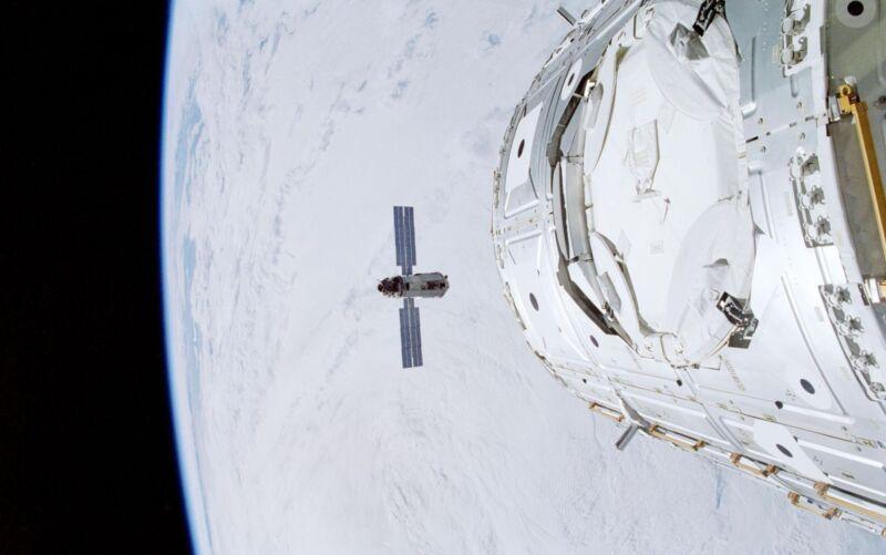 Spacecraft in orbit around the Earth.