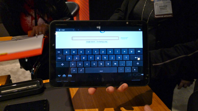 One of the videos showed the Xoom's pop-up onscreen keyboard.
