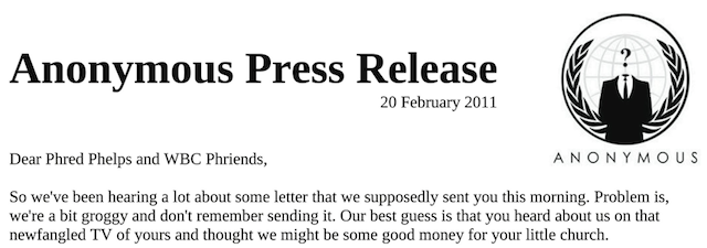 Part of the, err, slightly more official Anonymous press release