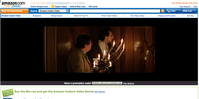 What Amazon Instant Streaming looks like in the browser.