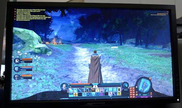 A Jedi Knight at the entrance of Taral V. The UI shows group members and combat text on the left, with action bars, minimap, and health bars along the bottom.