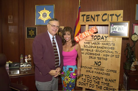 """Joe Arpaio in front of his """"tent city"""" rules"""