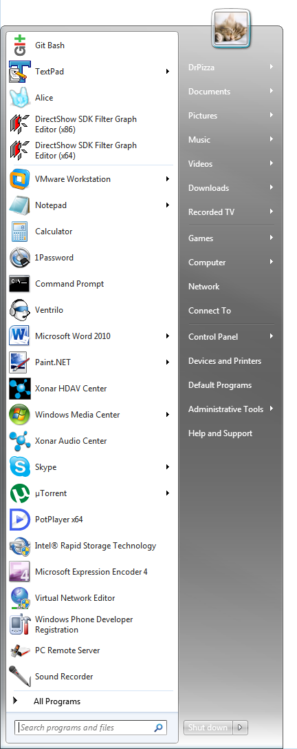 The Windows 7 Start menu with a bunch of settings changed