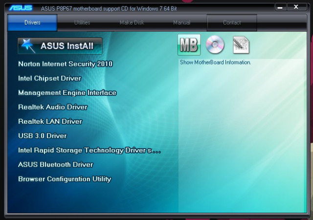 The interface of the CD that accompanies the motherboard lets you install drivers for extra USB 3.0 ports, the Ethernet port, and the audio ports, among other things.