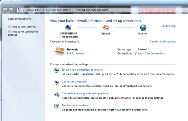 The network and sharing center in Windows. Red X's appear between the icons at the top if the connection isn't behaving.