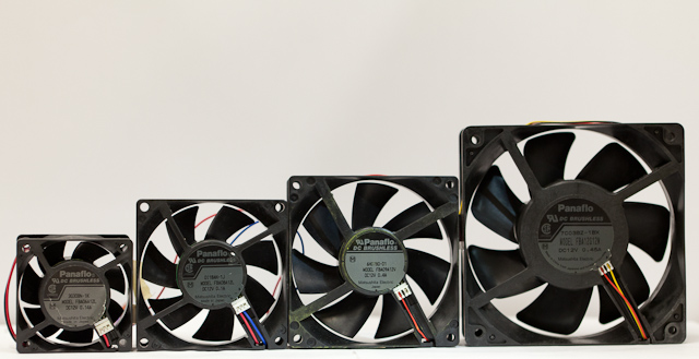 Case fans in varying sizes, in this instance, Panasonic Panaflo fans. From left to right, 60mm, 80mm, 92mm, and 120mm.