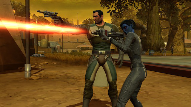A human bounty hunter and a Chiss agent, fighting their way through trash planet Hutta.
