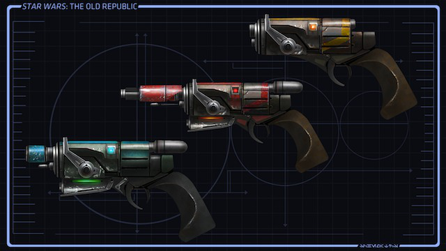 Concept art for a bounty hunter's weapons.