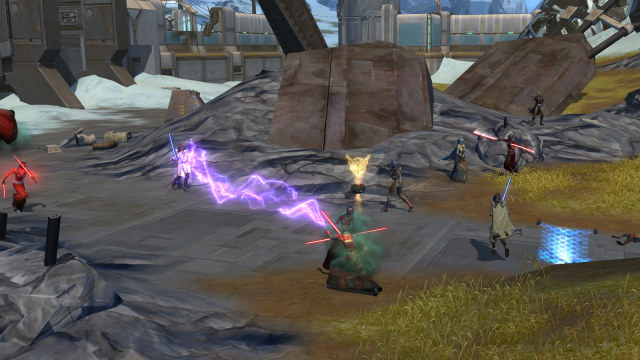 An Empire player runs in to help a group of his friends. The player in the center with a gold indicator has just earned a badge.