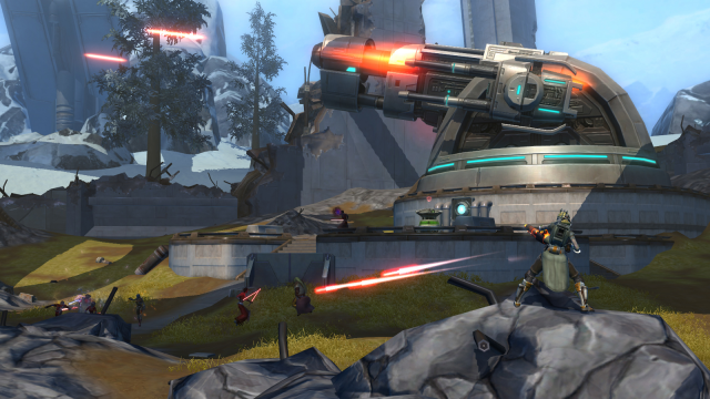An Empire-controlled turret fires at the Republic ship as players fight at the base of the platform.