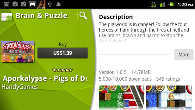...But $1.39 for the same version in the Android Market.