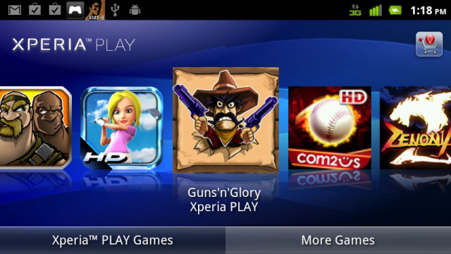 A special app displays purchased and purchasable games optimized for the Xperia Play controls.