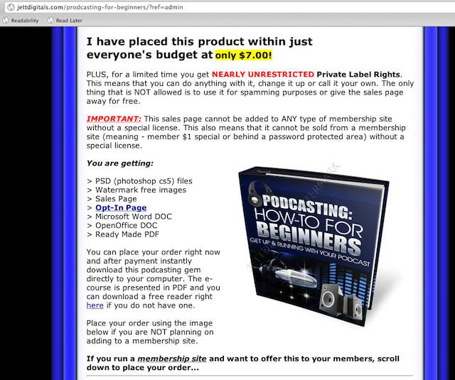 A private label rights (PLR) book sells for $7 on a website.