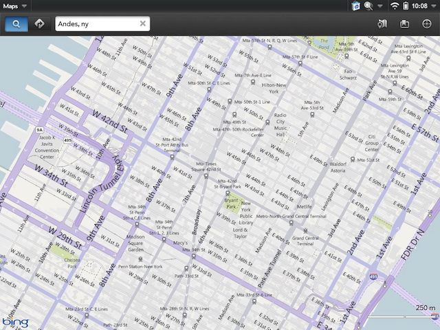 Bing powers the Maps app, but some information is missing.