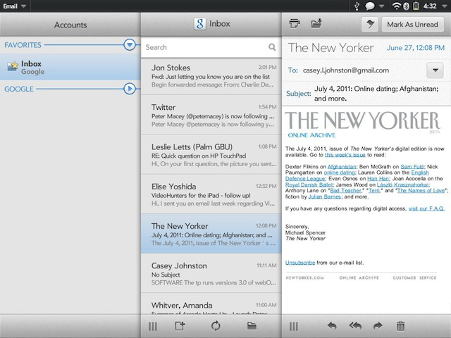 The three column view in the Mail app.