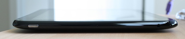 The sleep button and headphone jack at the top of the TouchPad