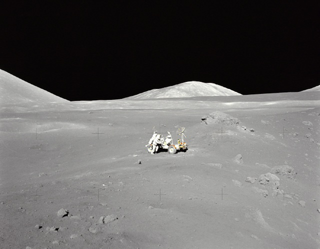 So alone. Apollo 17 members explore the moon.