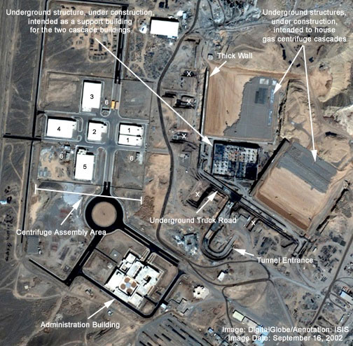 Satellite image of the Natanz nuclear enrichment plant in Iran taken in 2002 when it was still under construction. The image shows two cascade halls, in the upper right corner, as they were being built deep underground. The hall on the left, Hall A, is the only one currently operational and is the building where centrifuges believed to have been damaged by Stuxnet in 2009 were installed.