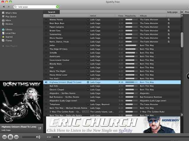 The free version of Spotify alternates between (sometimes dynamic) horizontal and vertical banner ads.