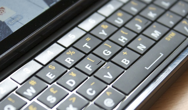 A close-up of the Droid 3's physical keyboard.