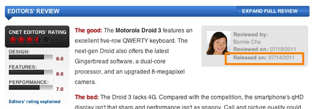 The release date of a reviewed device on CNET is listed at the beginning of the review.
