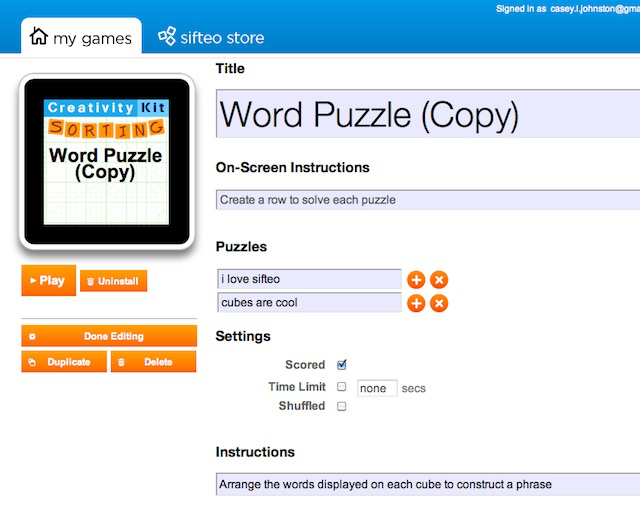 The Sifteo Creativity Kit allows users to enter their own content into puzzle games.