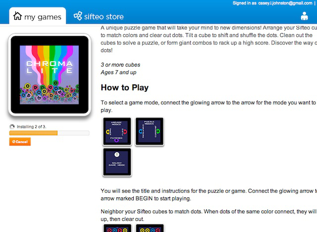 The Siftrunner app, which transfers games to the cubes (first install takes much longer than subsequent ones).