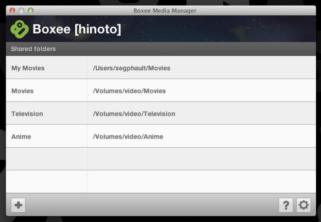This is the dialog for configuring shared media in the Boxee Media Manager