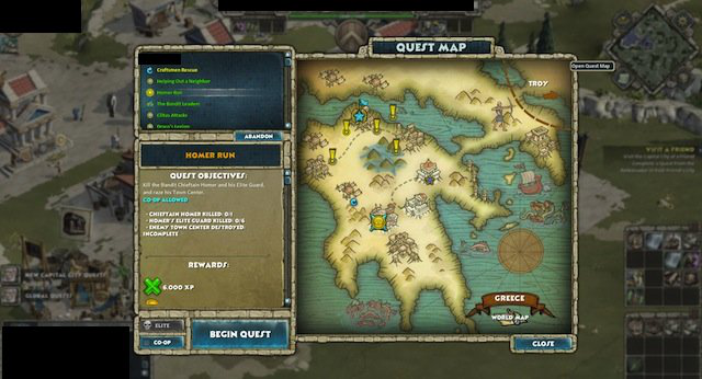 Players can receive quests in different cities of their country. Repeatable quests are also available, and are represented as blue exclamation points.