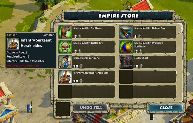 A specific empire store lets players spend empire points, though several of the rewards, such as advisors, can only be used by players with premium civilizations.
