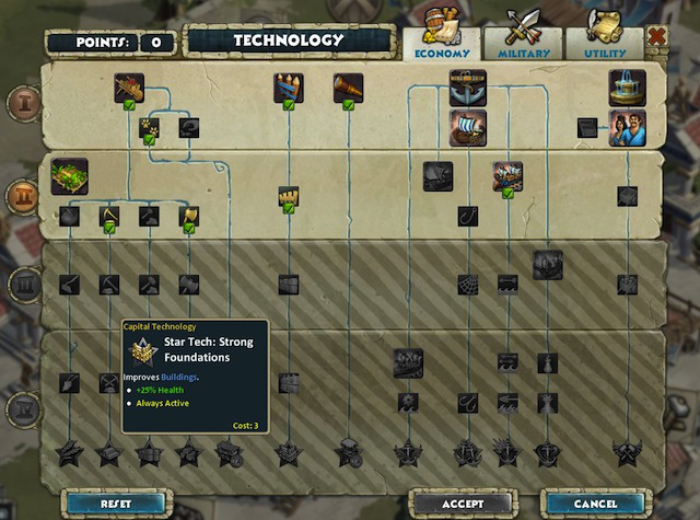 The tech tree moves your city through the ages, up to Age IV. As shown here, the highest tier of starred techs are only accessible to premium players, but Age IV is still reachable by free-to-players.