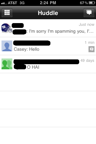 Google+'s group messaging service, Huddles, have some janky settings at the moment.